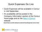 quick expenses go live