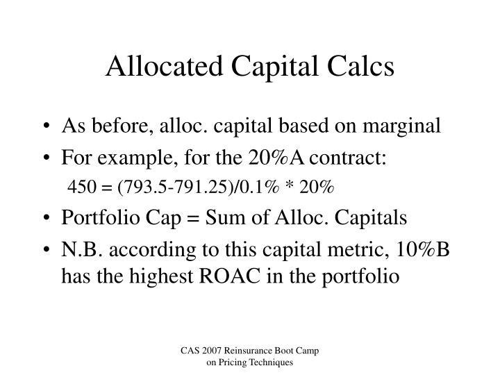 Allocated Capital Calcs