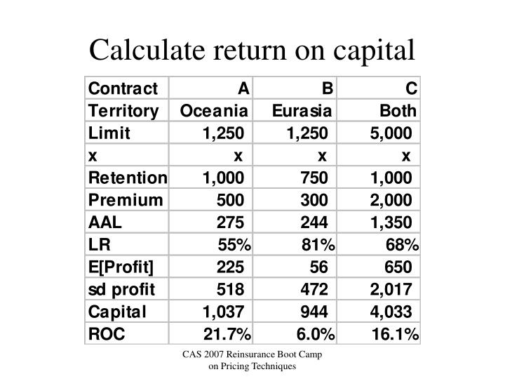 Calculate return on capital