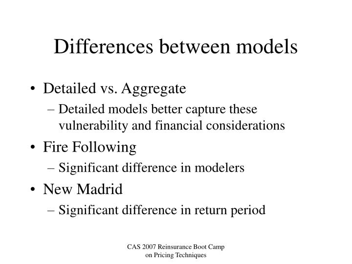 Differences between models