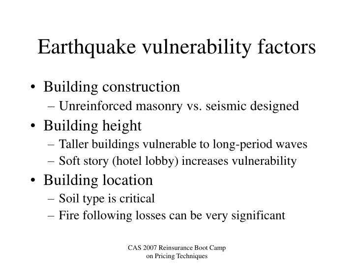 Earthquake vulnerability factors