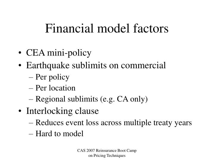 Financial model factors