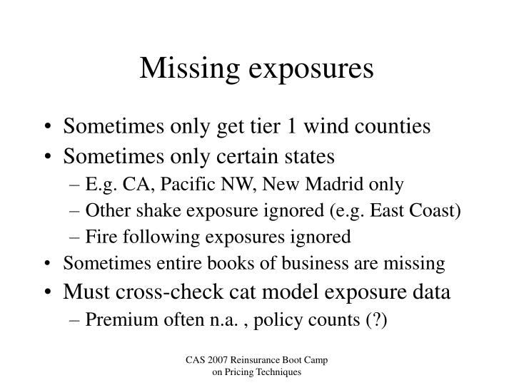Missing exposures
