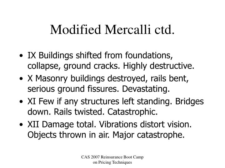 Modified Mercalli ctd.