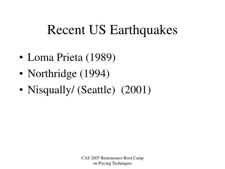 Recent US Earthquakes