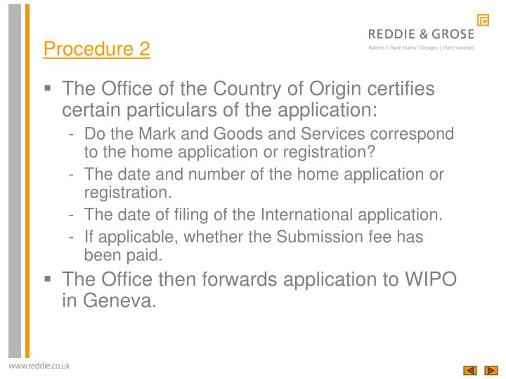 The Office of the Country of Origin certifies certain particulars of the application: