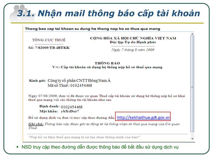 3.1. Nhận mail thông báo cấp tài khoản