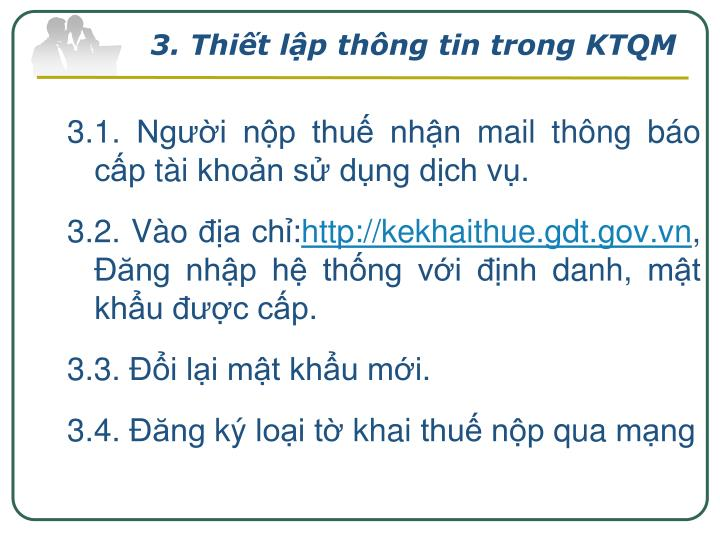 3. Thiết lập thông tin trong KTQM