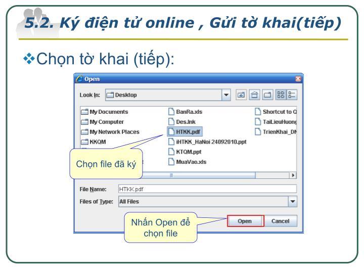 5.2. Ký điện tử online , Gửi tờ khai(tiếp)