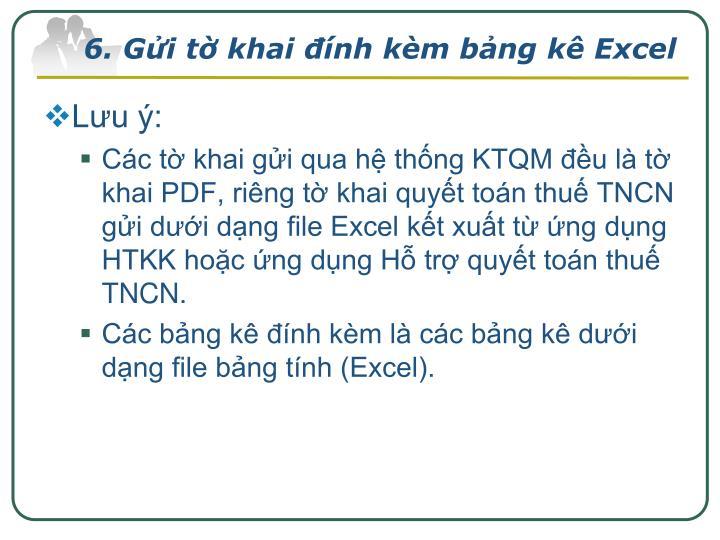 6. Gửi tờ khai đính kèm bảng kê Excel