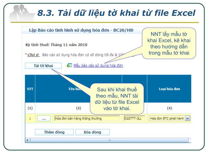 8.3. Tải dữ liệu tờ khai từ file Excel