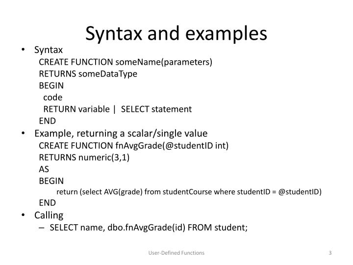 Syntax and examples