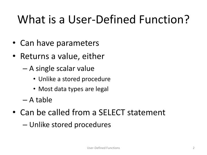 What is a user defined function