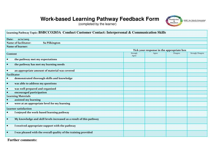 Work-based Learning Pathway Feedback Form