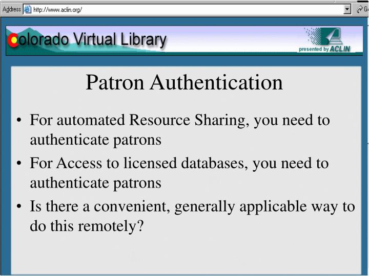 Patron Authentication