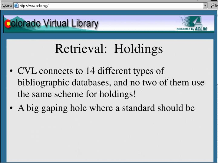 Retrieval:  Holdings