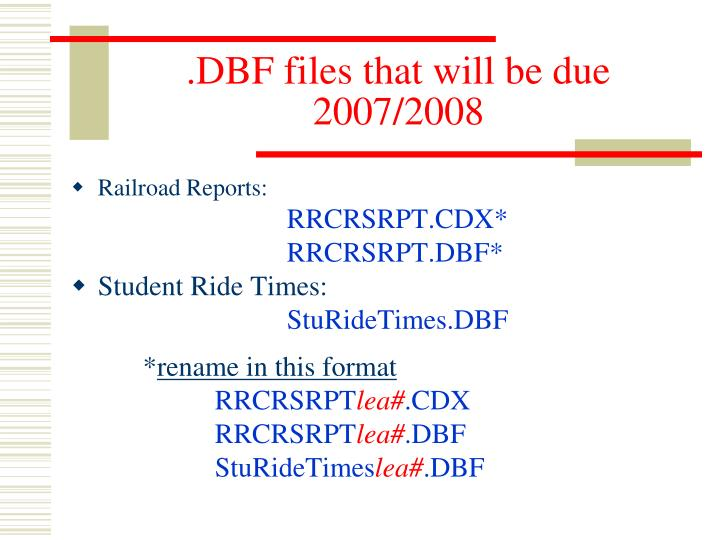 .DBF files that will be due