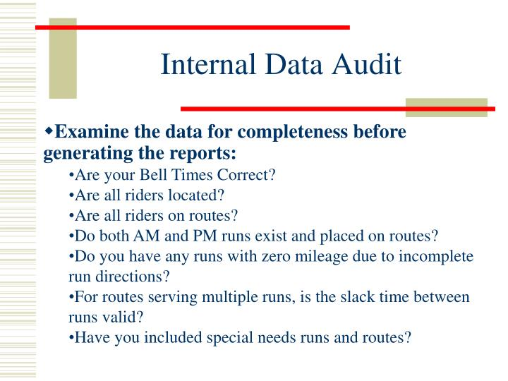 Internal Data Audit