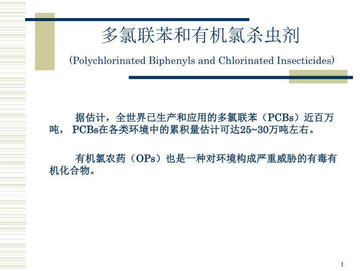 Polychlorinated biphenyls and chlorinated insecticides
