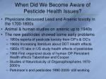 when did we become aware of pesticide health issues