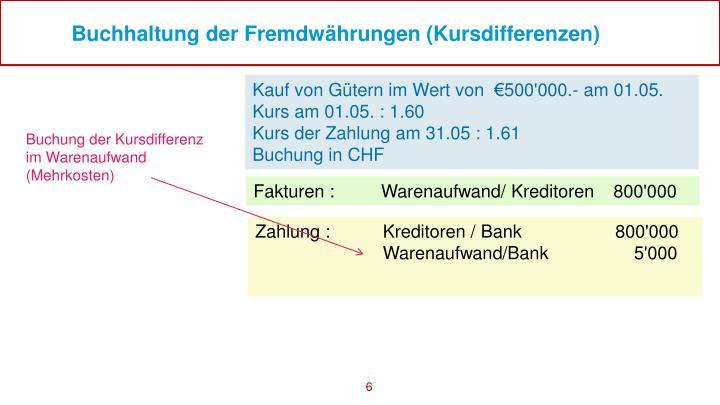 Buchhaltung der Fremdwährungen (Kursdifferenzen)