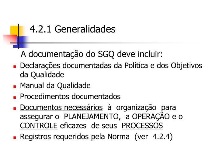 A documentação do SGQ deve incluir:
