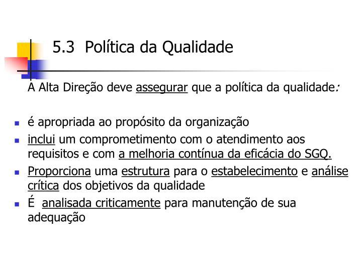 5.3  Política da Qualidade