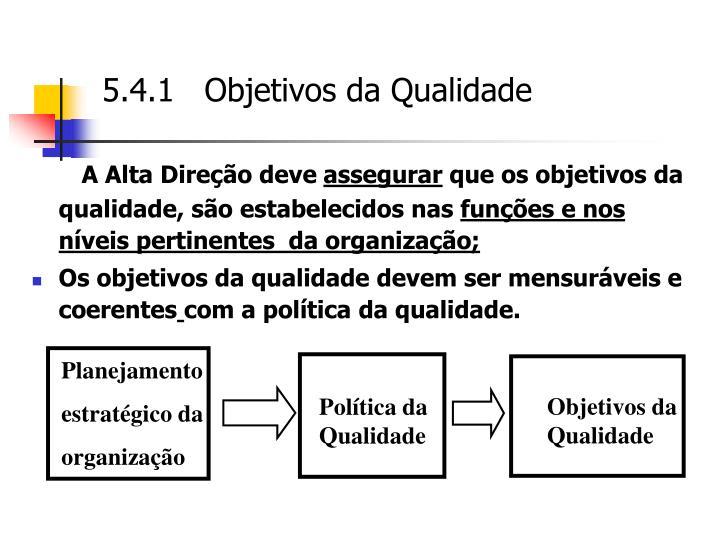 5.4.1   Objetivos da Qualidade