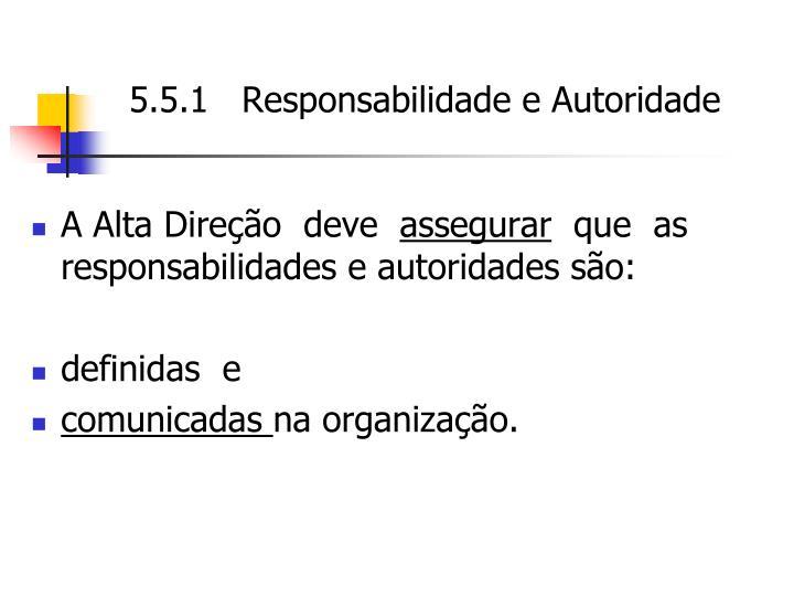 5.5.1   Responsabilidade e Autoridade