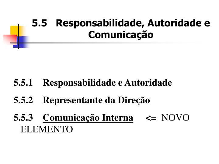 5.5   Responsabilidade, Autoridade e Comunicação