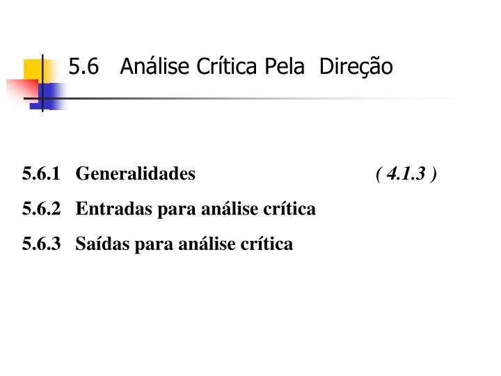 5.6   Análise Crítica Pela  Direção