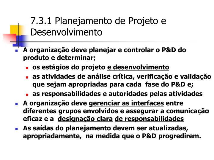 7.3.1 Planejamento de Projeto e Desenvolvimento