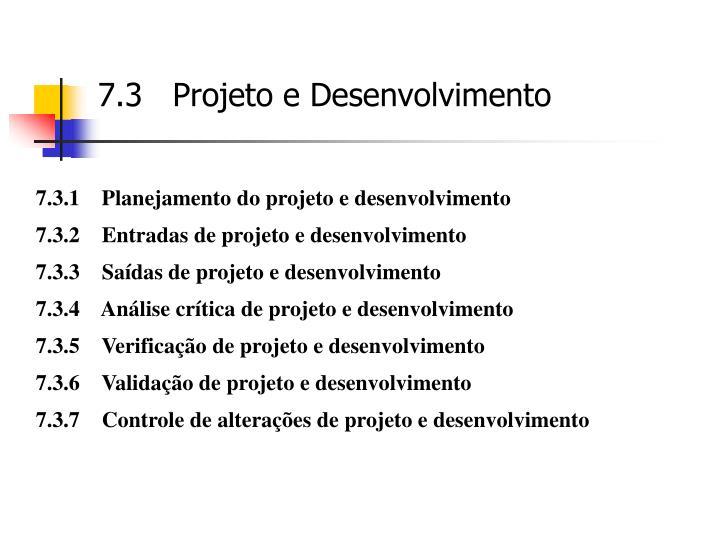 7.3   Projeto e Desenvolvimento