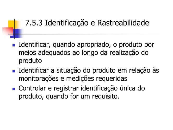 7.5.3 Identificação e Rastreabilidade