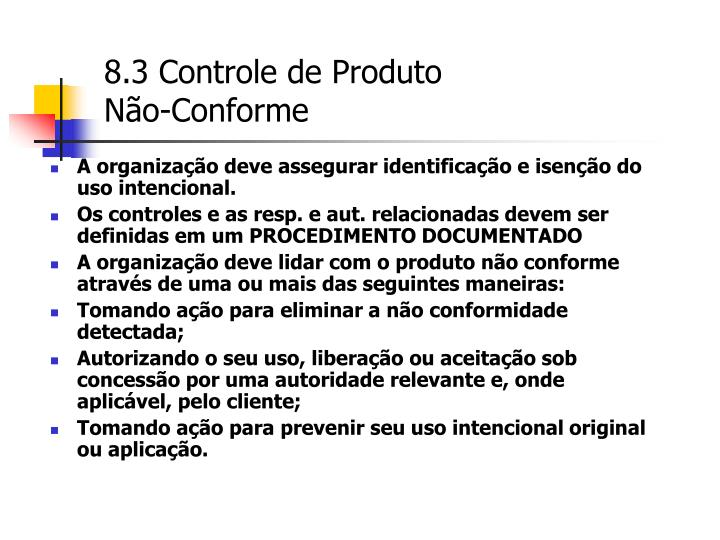 8.3 Controle de Produto
