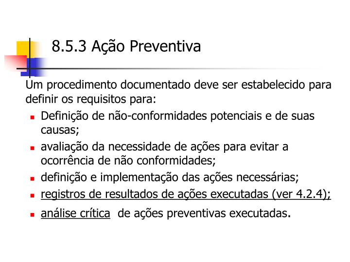 8.5.3 Ação Preventiva
