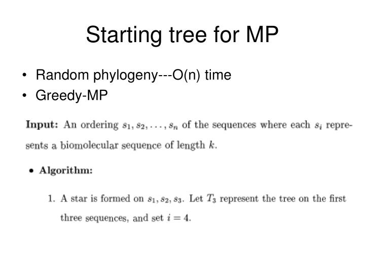 Starting tree for MP