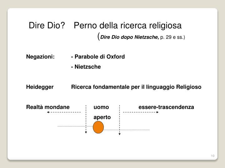 Dire Dio?Perno della ricerca religiosa(