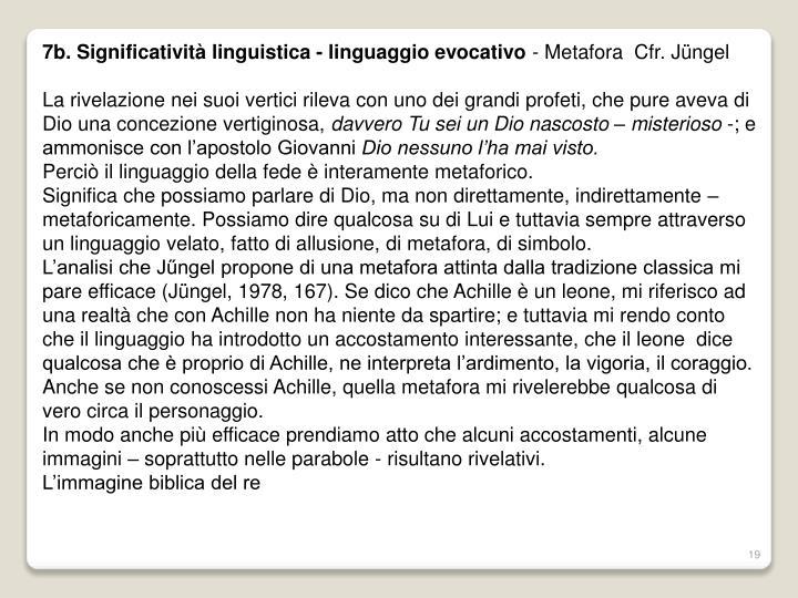 7b. Significatività linguistica - linguaggio evocativo