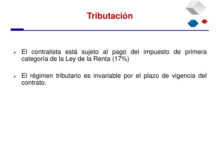 El contratista está sujeto al pago del impuesto de primera categoría de la Ley de la Renta (17%)