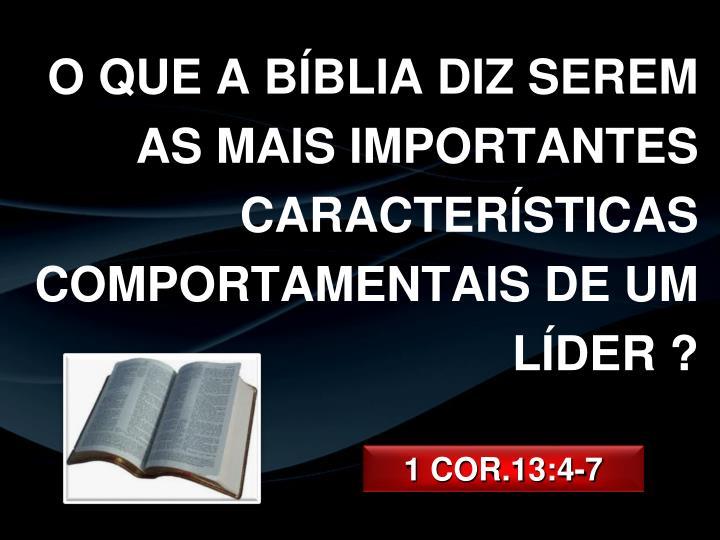 O QUE A BÍBLIA DIZ SEREM AS MAIS IMPORTANTES CARACTERÍSTICAS COMPORTAMENTAIS DE UM LÍDER ?