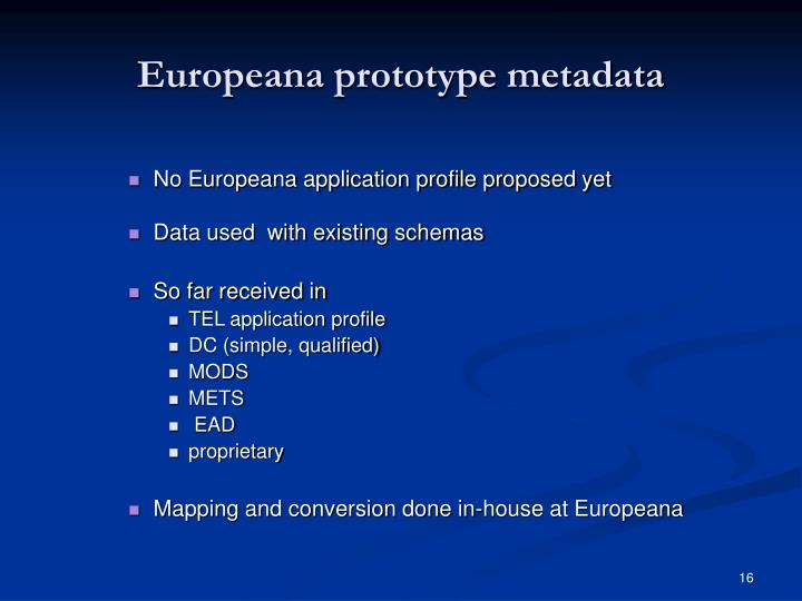 Europeana prototype metadata