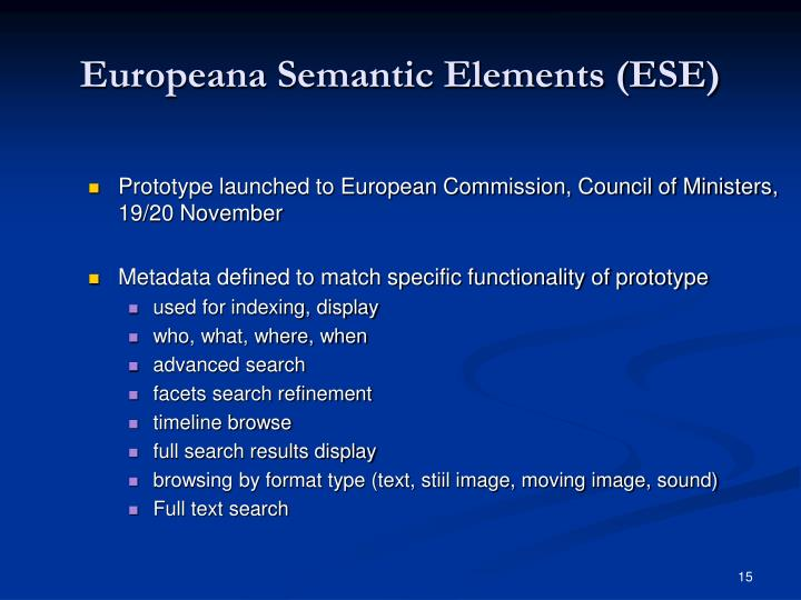 Europeana Semantic Elements (ESE)