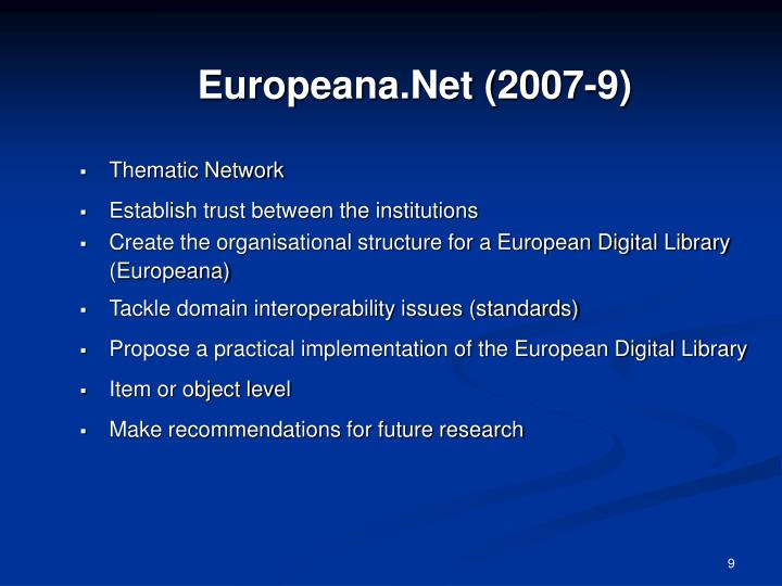 Europeana.Net (2007-9)