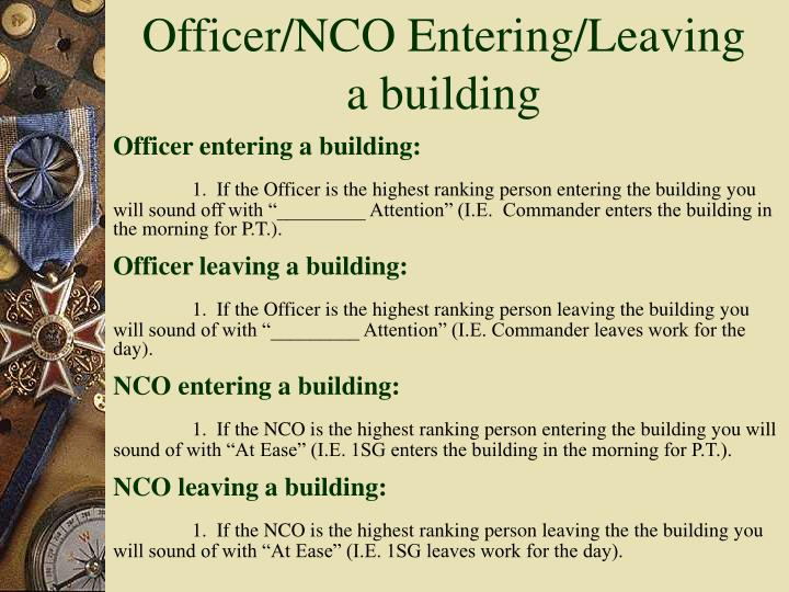 Officer/NCO Entering/Leaving a building