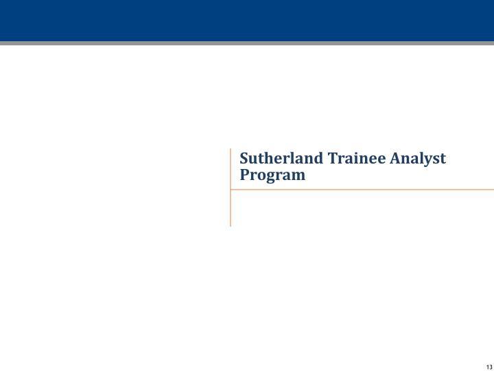 Sutherland Trainee Analyst Program