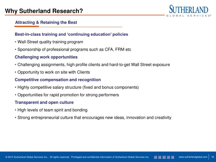 Why Sutherland Research?