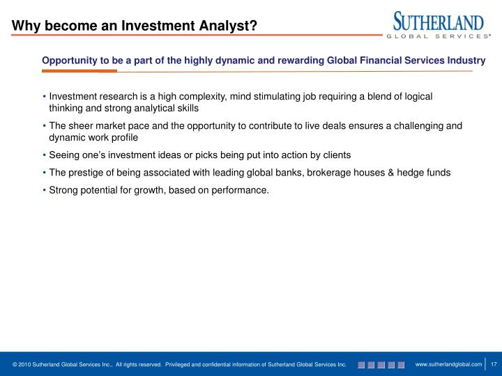 Why become an Investment Analyst?