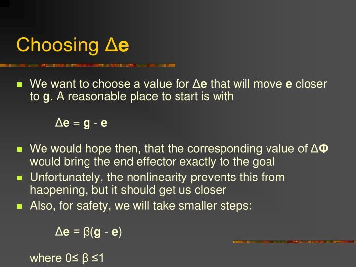 Choosing Δ