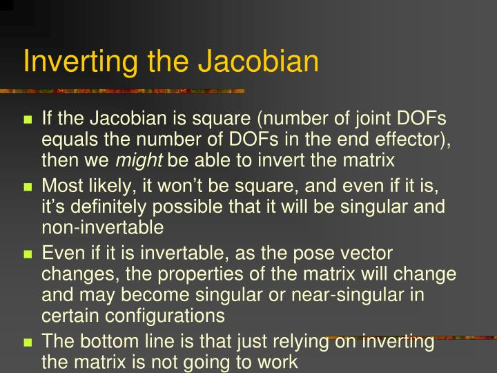 Inverting the Jacobian